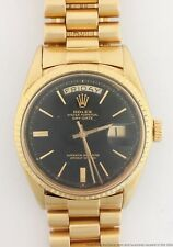 Genuine Rolex President Vintage Pie Pan Black Gilt Dial 18k Gold Mens Watch