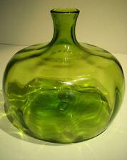 VINTAGE BLENKO 1964 JOEL MEYERS OLIVE GREEN ART GLASS HAND BLOWN DECANTER