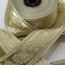 Borte 1M Bordüre lfm Goldborte Webband Sariborte Mittelalter Gold Breit 35mm