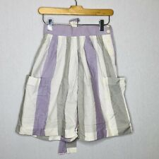 Vintage 80s Shorts Large High Waisted Bow Purple Striped Harlequin Sport Preppy
