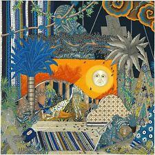 Auth Hermes Silk Scarf 90cm Act III Scene I Marine Orange Bleu NEW