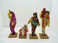 4 PISANTY Israeli Folk Art Clay Wood Cloth Dolls Figurines Vintage