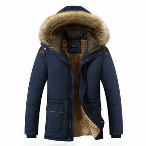 Men's Warm Duck Down Jacket Fur Collar Thick Winter Coat Outwear Hooded Parka