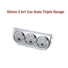 52MM Chrome Auto Triple Gage Meter Water Temperature Oil Pressure Sensor Voltage