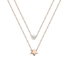 Five-pointed Star and Pearl Pendant Stainless Steel Double Chain Women Necklace