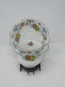 Queens Rosina China Blue Bows Ribbon Pink Roses Floral Cup and Saucer