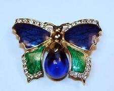 Fabulous!! Vintage Bijoux Stern Paris Enamel & Rhinestone Butterfly Pin Brooch