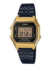 CASIO VINTAGE LA680WEGB-1A BLACK PLATED STAINLESS STEEL WATCH FOR WOMEN - COD