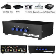 4 Ports RCA Video Audio AV Switch Switcher Selector 4-In-1 Out TV Splitter Box