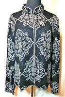 VGUC Adrianna Papell  XL 100% Silk Black Heavily Beaded Lined Evening Jacket