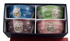 Set 4 Bol Chat Japonais Maneki Neko 15.7 cm en Porcelaine  155 -Top Qualite