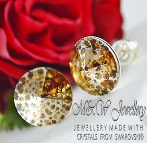 925 Silver Stud Earrings Crystals From Swarovski® RIVOLI Colorado Topaz R.Patina