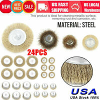 """24pcs 1/4"""" Shank Drill Wire Wheel Cup Flat Brush Steel Cleaning Rust Sanding Set"""