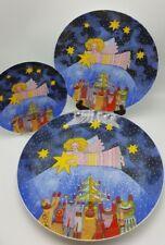 Kiki Suarez Plate Set 3 Christmas Angel Star of Peace Platter dish Japan 1988