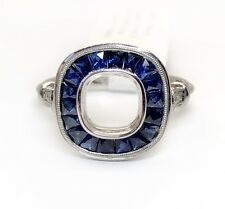 14K White Gold Semi Mount Ring 1.08 Ct Natural Sapphire & Diamond 6.8 mm Center