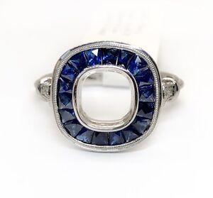 14K White Gold Semi Mount Ring 1.08 Ct Natural Sapphire & Diamond 6.8 mm Center