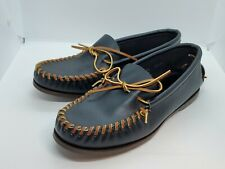 Hand Made Laced Brown Boat Shoe Moccasin Men's Size 8.5 Sole Made in Paris NWOB
