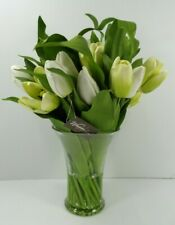 Pottery Barn Faux Tulip in Glass Decorative Vase White Green #3006