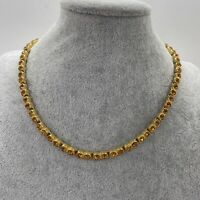VINTAGE 80s Yellow Sparkly Necklace Gold Tone Chain Retro Kitsch Collar Length