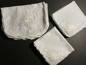 Solid White Embroidered Floral Placemat & Matching Napkin Set for 12! Ships Free