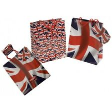 Pack Of 3 Union Jack Gift Bags 2 Assorted Designs - Large British Flag Present