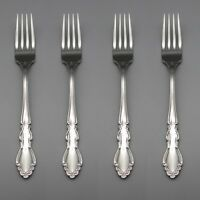 SET OF FOUR - Oneida Stainless DOVER GLOSSY Dinner Forks * ONEIDA USA MADE