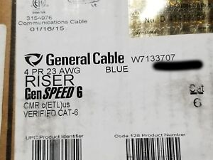 General Cable GenSPEED 6 23/4P UTP Cat6 Network Cable CMR Blue /100ft