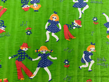 New listing Vtg fabric 102 x 46 inches barn square dance rockabilly whimsy embossed Do-Si-Do