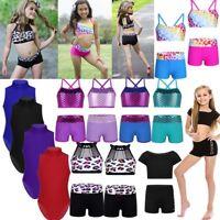 Girls Kid Sport Dance Outfit Crop Top+Shorts Gymnastics Leotard Dancing Bodysuit