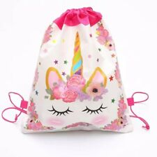 Kids Swimming Bag Drawstring Unicorn Cartoon Girls School Shoe Pink White