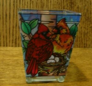 Amia Studios Votive #42390 NESTED BIRDS, Hand Painted, NEW/Box From Retail Store