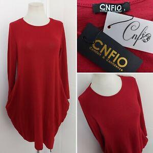 CNFIO Red Long Oversize Fine Knit Jumper Dress Medium BNWT Pockets Lagenlook