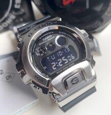 Casio G-Shock * GM6900-1 Silver Steel Digital Case Black Resin Strap Watch