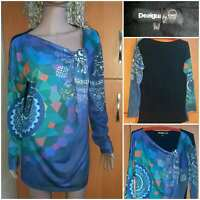 DESIGUAL Women's multicolor tunic. long sleeves without collar. size XL