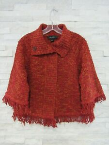 St. John Red & Orange Shaded Boucle Knit Fringe Trim Logo Jacket Cardigan M 8 10