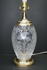 GORGEOUS VINTAGE DRESDEN CRYSTAL OVAL FLORAL TABLE LAMP