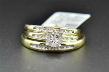 Diamond Trio Set His Hers Matching Engagement Ring Wedding Band 10K Yellow Gold