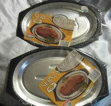 Pair Nordic Ware Sizzler Server Steak Plates Serv A Sizzle Hot Cold Food 24010