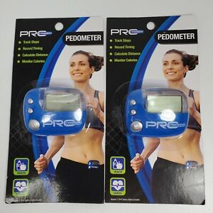 2 Pro Strength Cardio PEDOMETERS Clip•Record Time Distance Calories•Track Steps