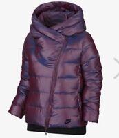 NIKE SPORTSWEAR Women's Down Filled Short Jacket Asymmetric Zip Bordeaux Small