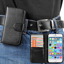 Black Classic PU Leather Wallet Case with Belt Clip for Apple iPhone 6 PLUS 5.5