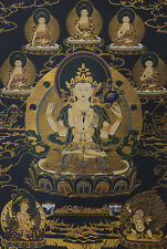 "32""BROCADED SCROLL TIBET THANGKA: VAJRAPANI MANJUSHRI CHENREZIG Avalokiteswara ="
