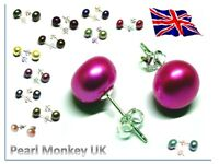 GENUINE FRESHWATER PEARL STUD EARRINGS - 925 STERLING SILVER - VIBRANT COLOURS