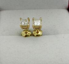 14k Yellow Gold Stud Princess Cut Diamonds 0.48ctw Screw Back Earrings