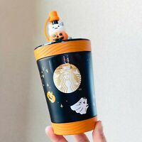 Starbucks Contigo Tumbler Halloween Black SS Straw Cup With Pumpkin topper