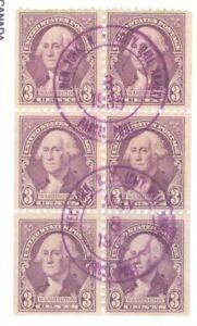 US 720b WASHINGTON 3c BOOKLET PANE OF 6 cancelled issued 1932