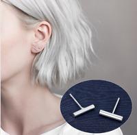 Classic Fashion Genuine S925 Sterling Silver Women Stud Earring Bar Minimalist