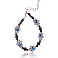 Vinatge Hamsa Fatima Hand Evil Eye Tibetan Silver Beaded Charm Chain Bracelet