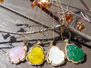 Natural Jade Jewelry Buddha Pendant Charm W/ 18K Gold Plated Chain Necklace