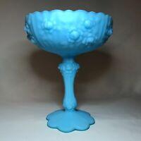 VTG Fenton Art Glass Blue Satin Cabbage Rose Compote Marked and Original Sticker